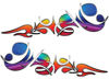 Reversed Tribal Flame Decal Kit with Rainbow Colors
