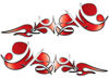 Reversed Tribal Flame Decal Kit in Red
