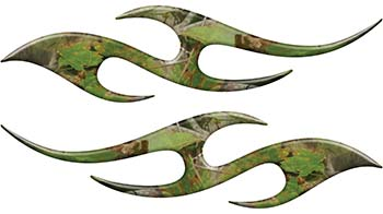 Simple Tribal Style Flame Graphics with Silver Outline in Camouflage