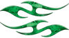 Simple Tribal Style Flame Graphics with Silver Outline in Green Camouflage