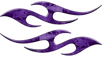 Simple Tribal Style Flame Graphics with Silver Outline in Purple Camouflage