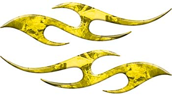 Simple Tribal Style Flame Graphics with Silver Outline in Yellow Camouflage