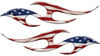 Simple Tribal Style Flame Graphics with Silver Outline with American Flag