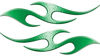 Simple Tribal Style Flame Graphics with Silver Outline in Green