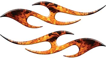 Simple Tribal Style Flame Graphics with Silver Outline in Inferno