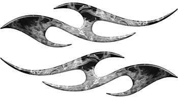 Simple Tribal Style Flame Graphics with Silver Outline in Gray Inferno