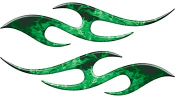 Simple Tribal Style Flame Graphics with Silver Outline in Green Inferno