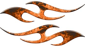 Simple Tribal Style Flame Graphics with Silver Outline in Orange Inferno
