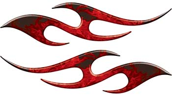 Simple Tribal Style Flame Graphics with Silver Outline in Red Inferno