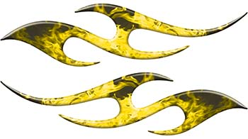 Simple Tribal Style Flame Graphics with Silver Outline in Yellow Inferno