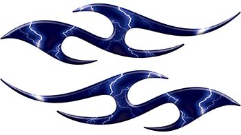 Simple Tribal Style Flame Graphics with Silver Outline in Blue Lightning Strikes