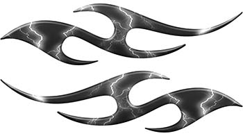 Simple Tribal Style Flame Graphics with Silver Outline in Gray Lightning Strikes