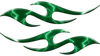 Simple Tribal Style Flame Graphics with Silver Outline in Green Lightning Strikes