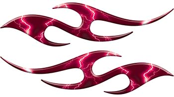 Simple Tribal Style Flame Graphics with Silver Outline in Pink Lightning Strikes