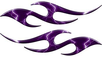 Simple Tribal Style Flame Graphics with Silver Outline in Purple Lightning Strikes