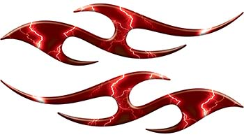Simple Tribal Style Flame Graphics with Silver Outline in Red Lightning Strikes
