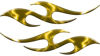 Simple Tribal Style Flame Graphics with Silver Outline in Yellow Lightning Strikes