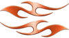 Simple Tribal Style Flame Graphics with Silver Outline in Orange