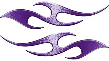 Simple Tribal Style Flame Graphics with Silver Outline in Purple