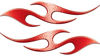 Simple Tribal Style Flame Graphics with Silver Outline in Red