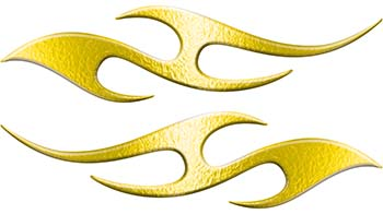 Simple Tribal Style Flame Graphics with Silver Outline in Yellow
