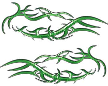 Split Tribal Style Flame Graphics in Green
