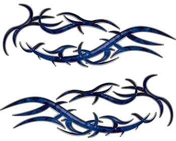 Split Tribal Style Flame Graphics in Blue Inferno