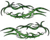 Split Tribal Style Flame Graphics in Green Inferno