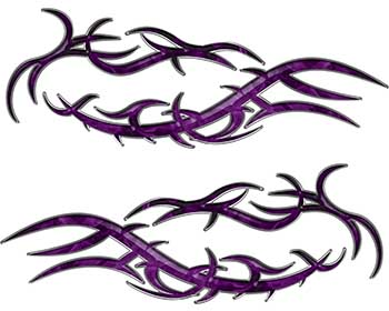 Split Tribal Style Flame Graphics in Purple Inferno