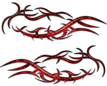 Split Tribal Style Flame Graphics in Red Inferno
