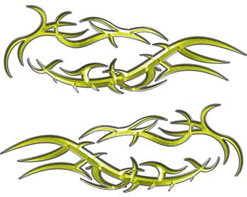 Split Tribal Style Flame Graphics in Yellow