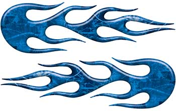 Street Rod Classic Car Style Flame Graphics in Blue Camouflage