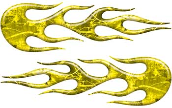 Street Rod Classic Car Style Flame Graphics in Yellow Camouflage