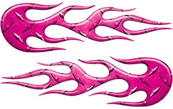 Street Rod Classic Car Style Flame Graphics in Pink Diamond Plate