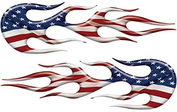 Street Rod Classic Car Style Flame Graphics with American Flag