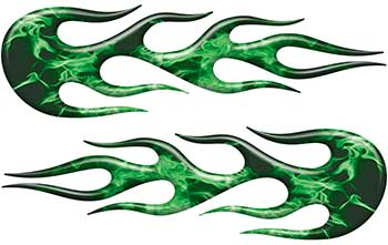 Street Rod Classic Car Style Flame Graphics in Green Inferno
