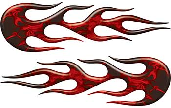 Street Rod Classic Car Style Flame Graphics in Red Inferno