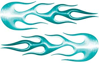 Street Rod Classic Car Style Flame Graphics in Teal