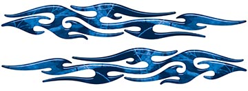 Tribal Style Flame Graphics in Blue Camo