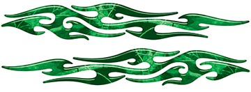 Tribal Style Flame Graphics in Green Camo