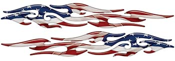 Tribal Style Flame Graphics with American Flag