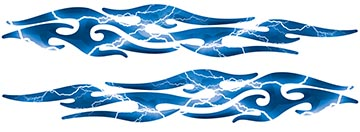 Tribal Style Flame Graphics in Lightning Blue