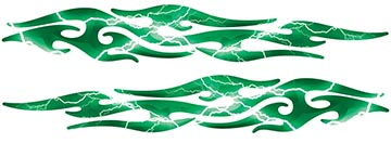 Tribal Style Flame Graphics in Lightning Green