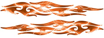 Tribal Style Flame Graphics in Lightning Orange