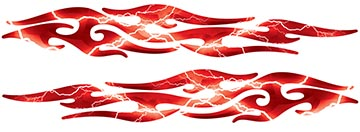 Tribal Style Flame Graphics in Lightning Red