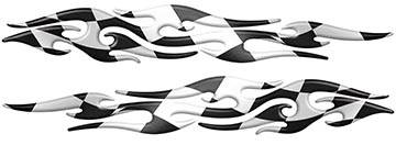 Tribal Style Flame Graphics with Checkered Racing Flag
