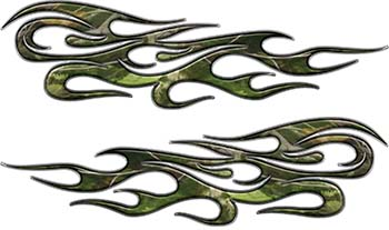 Traditional Style Flame Graphics with Silver Outline in Camo