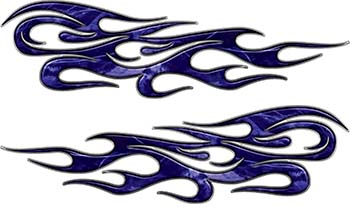 Traditional Style Flame Graphics with Silver Outline in Blue Camo