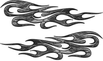 Traditional Style Flame Graphics with Silver Outline in Gray Camo