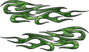 Traditional Style Flame Graphics with Silver Outline in Green Camo